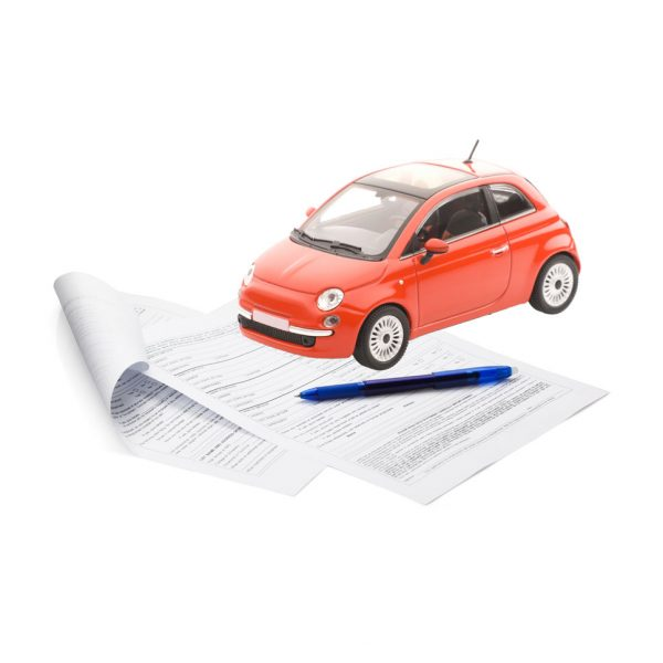 a picture of a car and paperwork that need to be co-signed