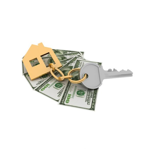 a picture of a house key with money underneath