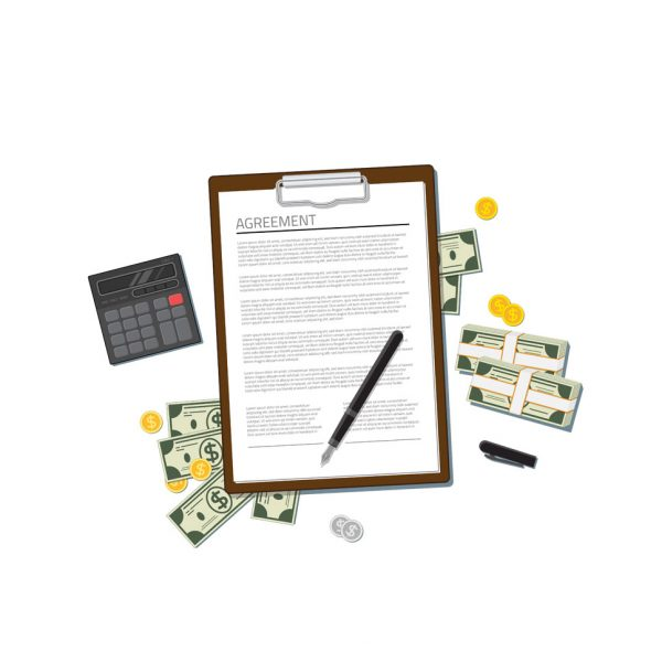 a picture of a rental agreement paperwork