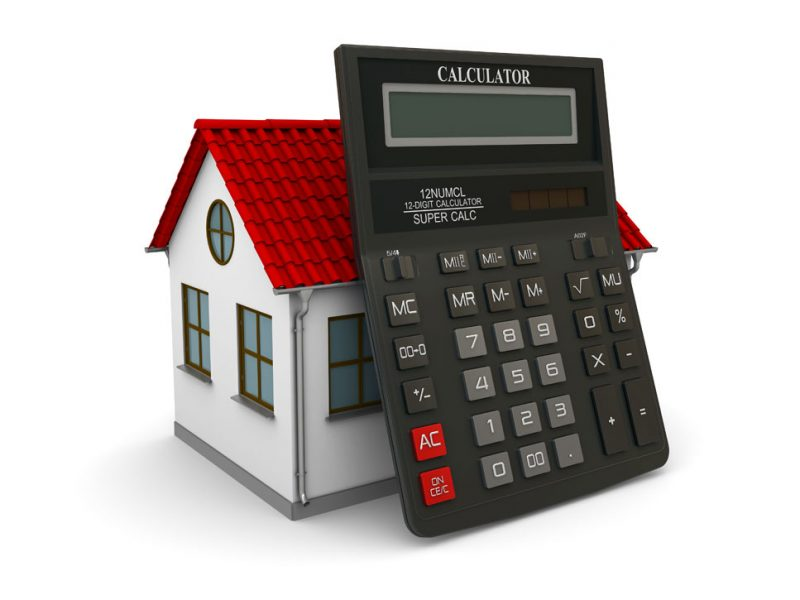 a picture of a house and a calculator