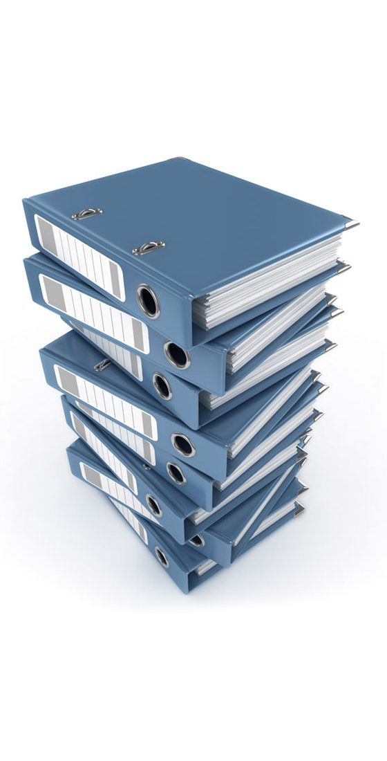 Stack of blue binders.