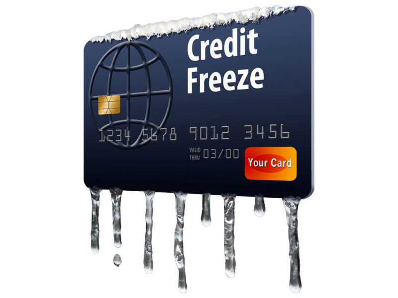 a picture of a credit card being frozen