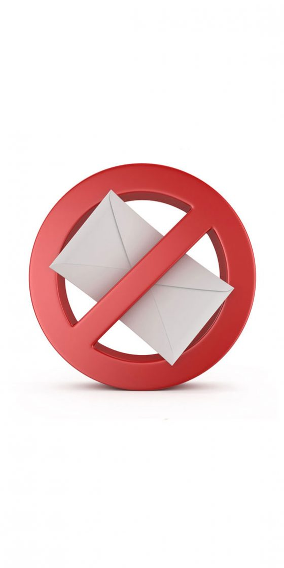 a picture indicating the stop of mail spam
