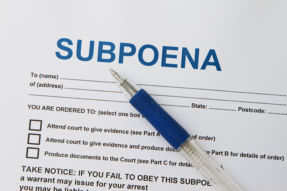 a customer is filling out a subpoena