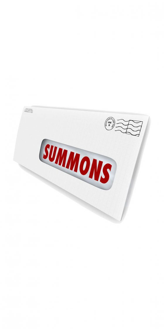a picture of a letter for a court summoning