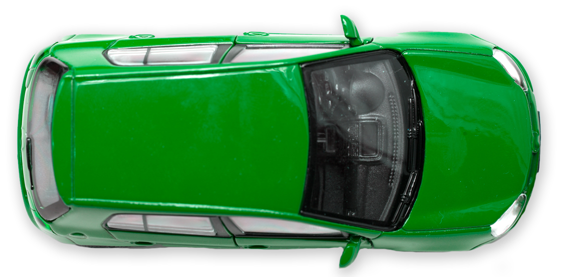 a top view of a green car