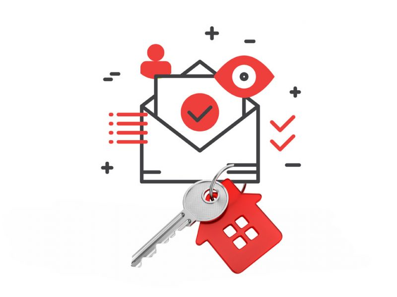 a picture of a envelope with some house keys