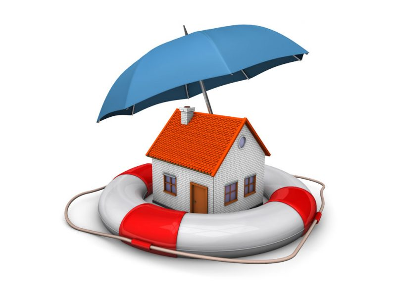 a picture of a home being protected from a flood or rain