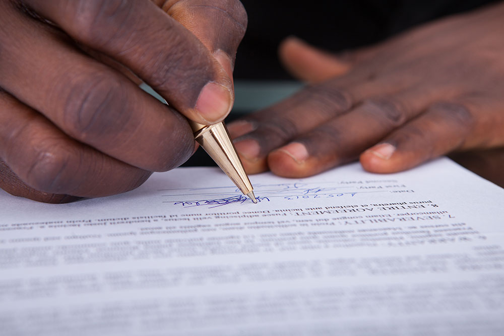 a consumer signing a contract