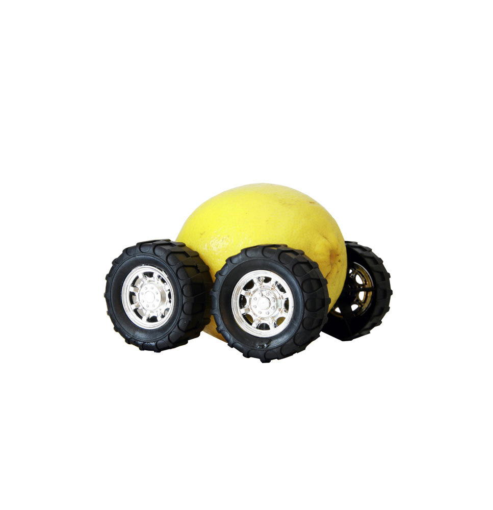 a picture of a lemon with wheels