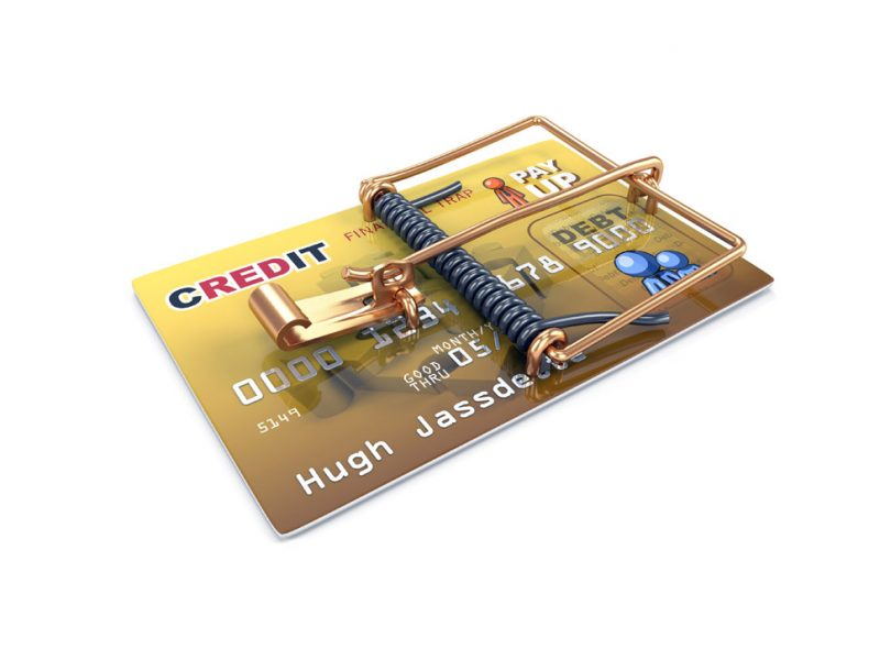 a picture of a credit card impersonating a mouse trap
