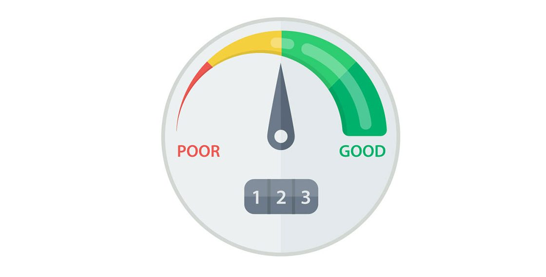 a picture of a credit score meter