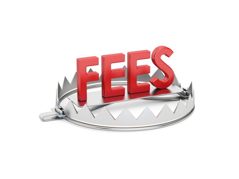 a picture of small claims court fees inside a bear trap