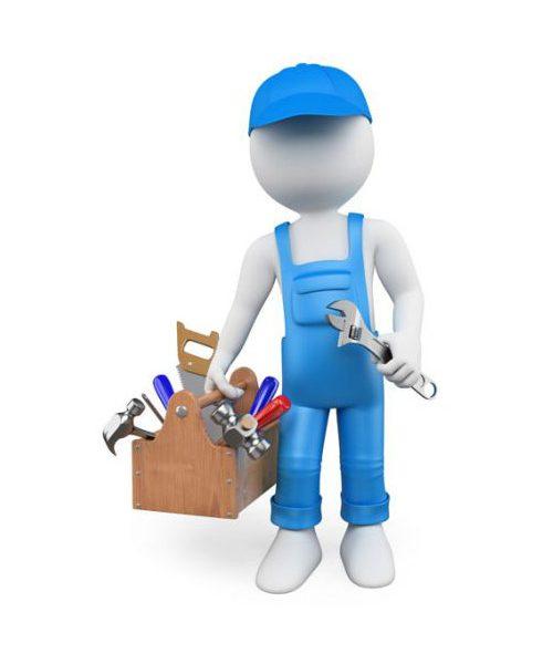 Handyman holding toolbox.