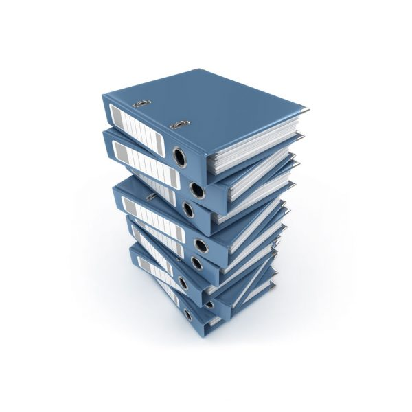 a stack of binders with court papers