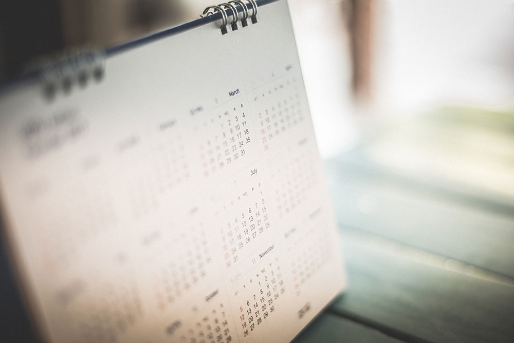 a picture of a marked calander