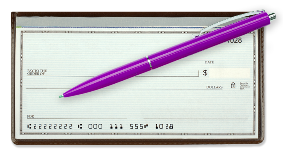 Financial Empowerment checkbook with pen
