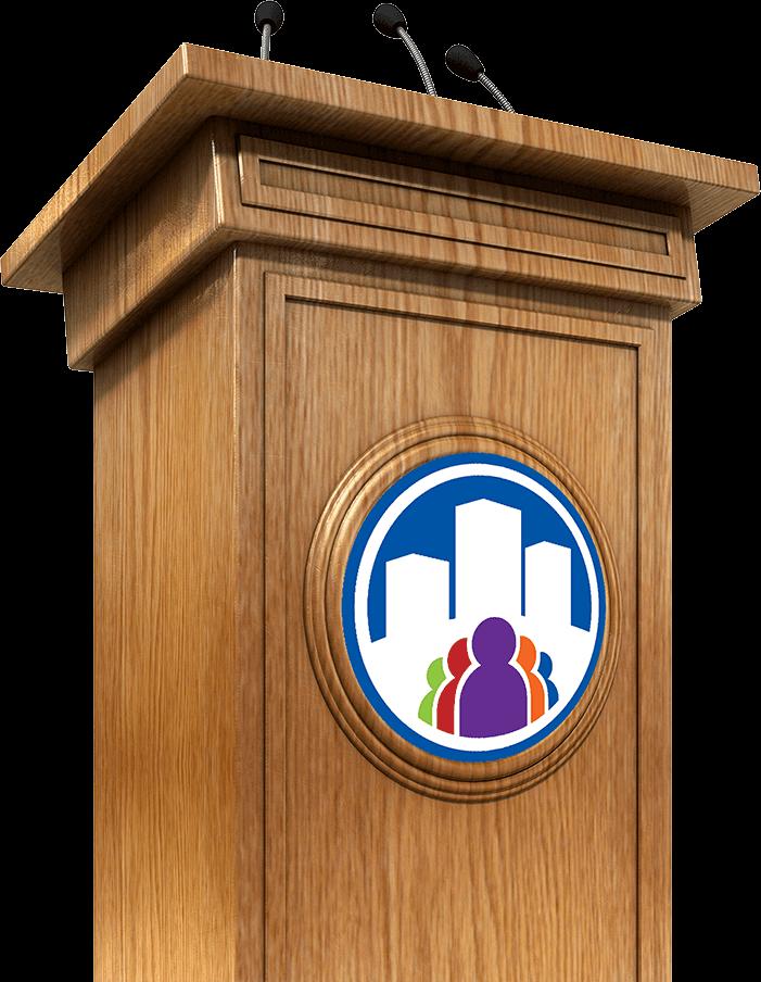 a empty speaker podium