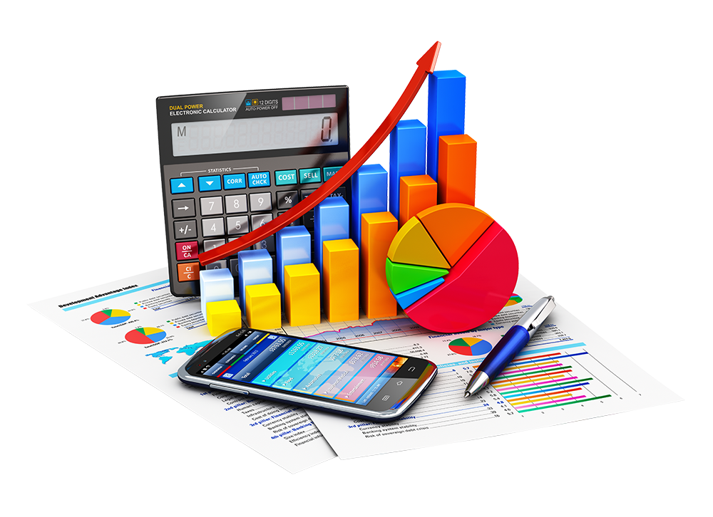 business papers with calculator and increasing charts
