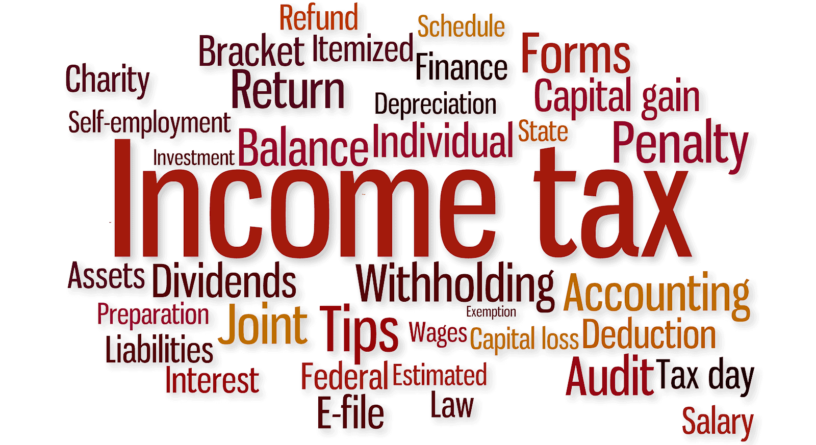 Income Tax mixed word cloud