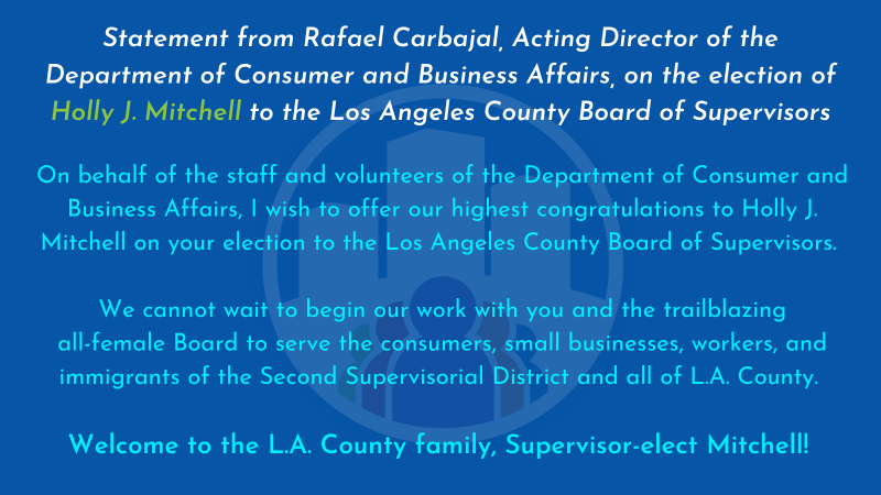 Statement from DCBA Acting Director. This graphic contains the words found within the statement