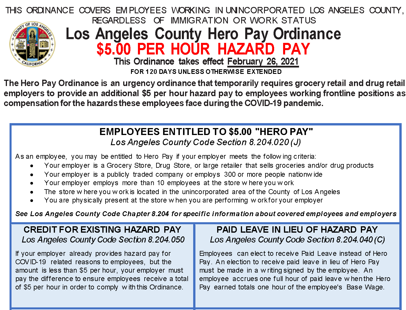 Partial image of required LA County Hero Pay workplace posting