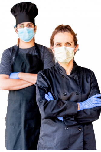 Two restaurant workers wearing PPE