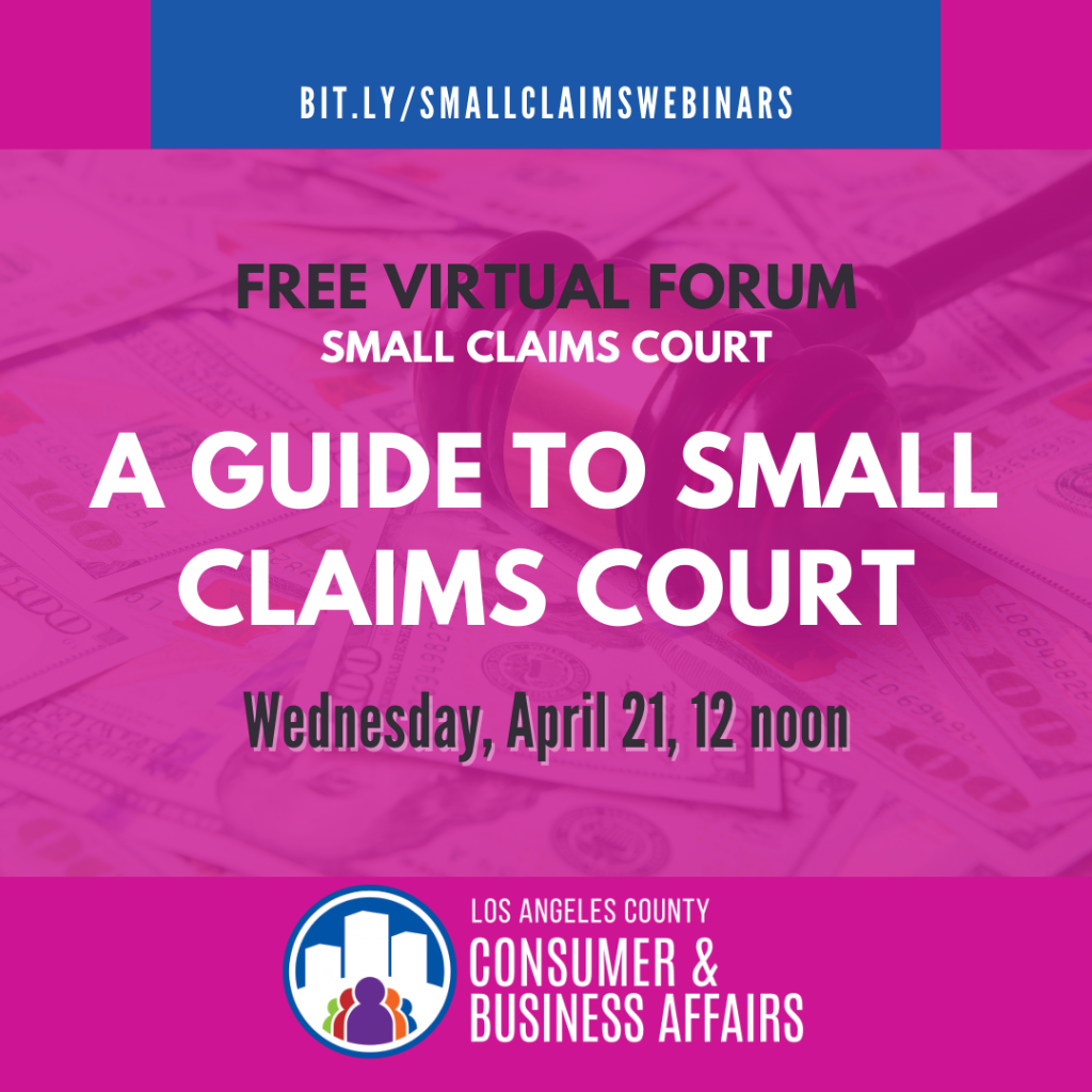Free small claims virtual forum flyer