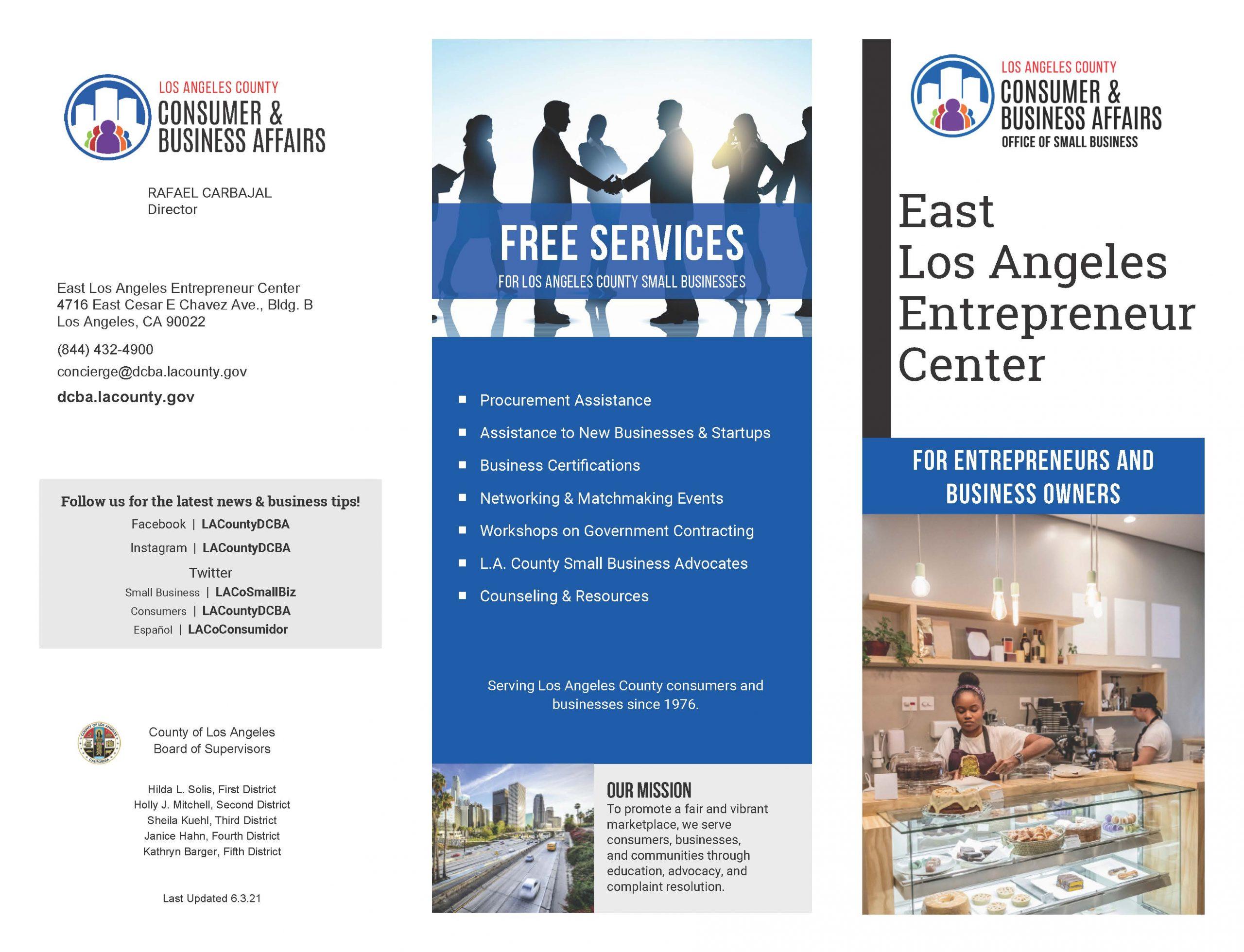 Image of the East LA Entrepreneur Center brochure