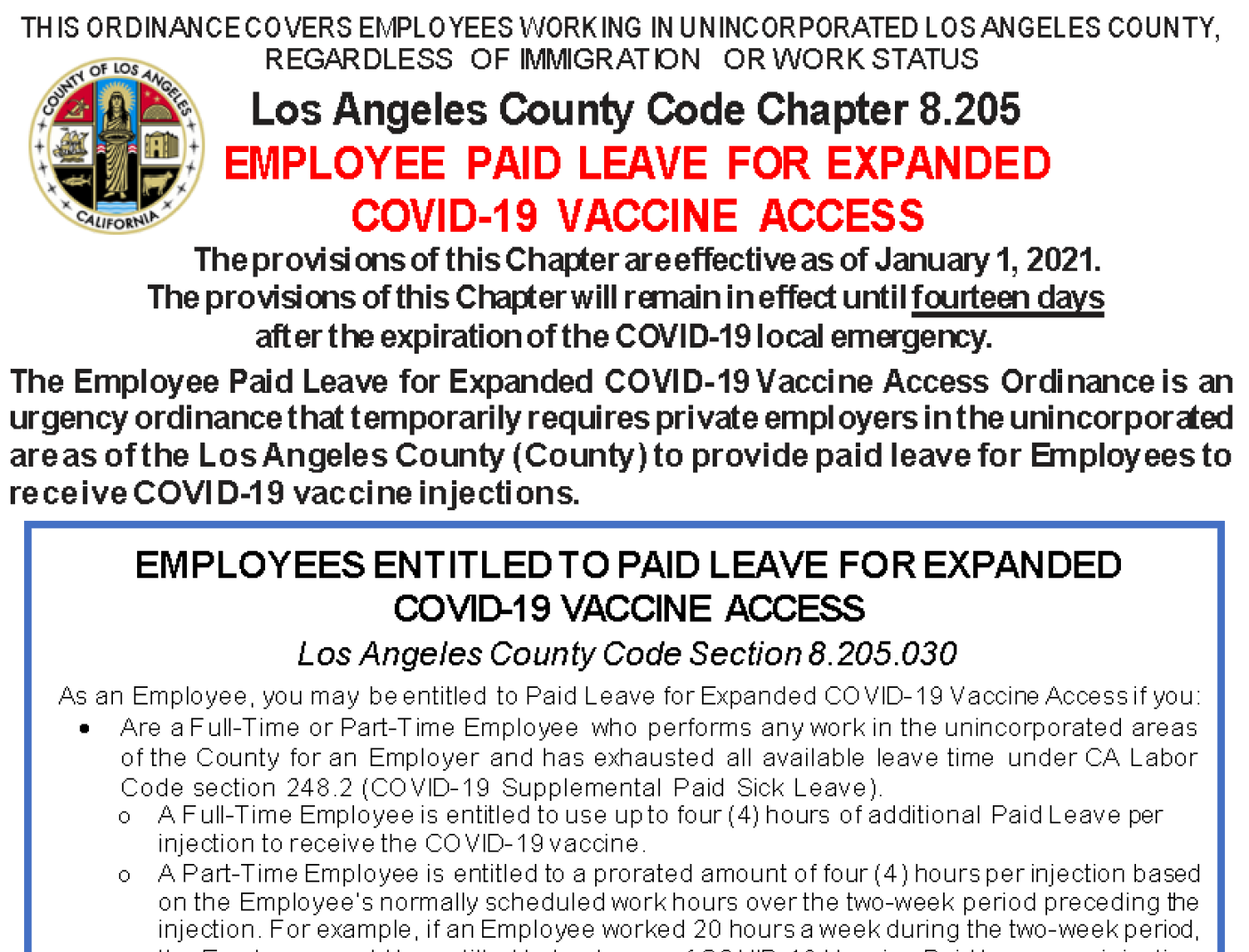 Portion of Vaccine Paid Leave required posting