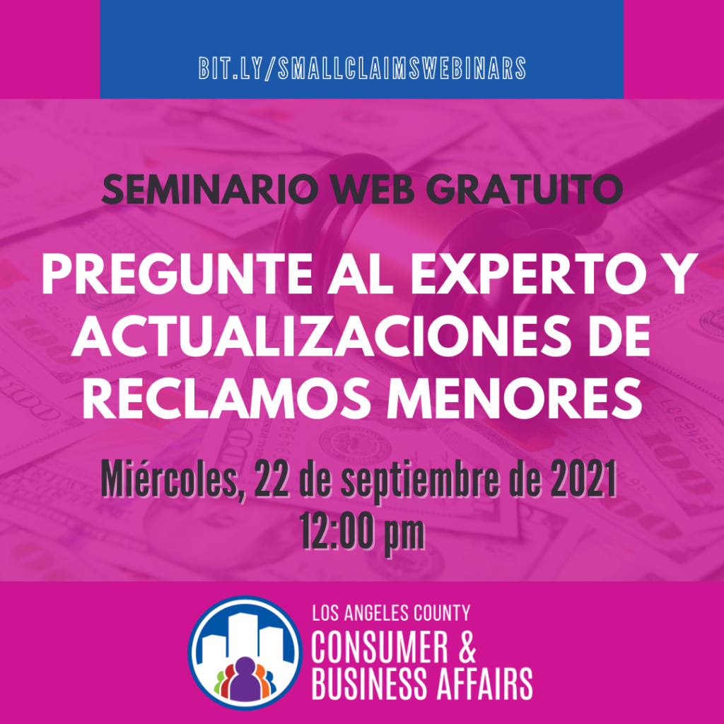 Small Claims webinar flyer in Spanish