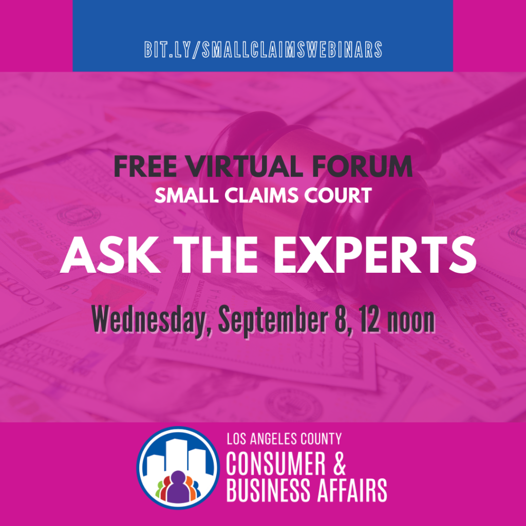 Ask the small claims experts webinar flyer